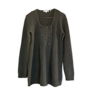 VINCE Wool Cashmere Ribbed Double Breasted Cardi